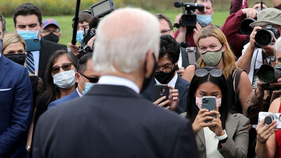 SHANKSVILLE, PA - SEPTEMBER 11: Democratic presidential nominee and former Vice President Joe Biden talks to journalist after laying a wreath at the Flight 93 National Memorial on the 19th anniversary of the 9/11 terror attacks September 11, 2020 in Shanksville, Pennsylvania. Earlier in the day the Biden attended a remembrance ceremony at the September 11 National Memorial in New York City. (Photo by
