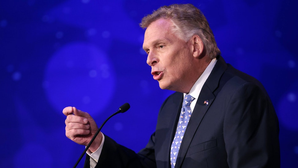 ALEXANDRIA, VIRGINIA - SEPTEMBER 28: Former Virginia Gov. Terry McAuliffe (D-VA) answers a question in a debate with Republican gubernatorial candidate Glenn Youngkin hosted by the Northern Virginia Chamber of Commerce September 28, 2021 in Alexandria, Virginia. The gubernatorial election is November 2.