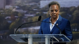 US-POLITICS-OBAMA-CENTER Chicago mayor Lori Lightfoot speaks during the groundbreaking ceremony for the Obama Presidential Center at Jackson Park on September 28, 2021 in Chicago, Illinois. - The 700-million-dollar project has been six years in the making and the center is scheduled to open in 2025. (Photo by Kamil Krzaczynski / AFP) (Photo by KAMIL KRZACZYNSKI/AFP via Getty Images) KAMIL KRZACZYNSKI / Contributor via Getty Images