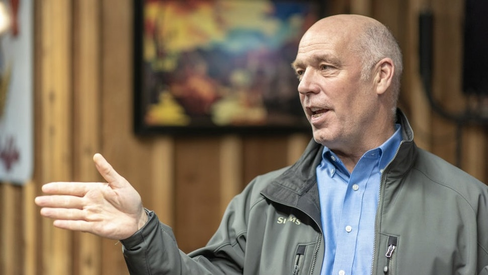 """Montana GOP Rep. Greg Gianforte Advocates For Yellowstone Gateway Protection Act PRAY, MT- OCTOBER 10: Montana Republican Congressman Greg Gianforte meets with members of the business and environmental community at Chico Hot Springs below Emigrant Peak on October 10, 2018 in Pray, Montana. He gave the group a briefing on his bill the """"Yellowstone Gateway Protection Act"""" which permanently withdraws mineral rights and bans mining on 30-thousand acres of public lands east of the Paradise Valley and north of Yellowstone National Park. Gianforte is running against Democrat Kathleen Williams for Montana's lone house seat in the 2018 midterm elections. (Photo by William Campbell-Corbis via Getty Images) William Campbell / Contributor"""