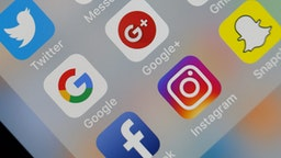 In this photo illustration, the social medias applications logos, Twitter, Google, Google+, Gmail, Facebook, Instagram and Snapchat are displayed on the screen of an Apple iPhone on October 08, 2018 in Paris, France.