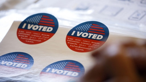 American 'I Voted' stickers at a polling station in California, U.S.