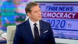 """Host Bill Hemmer as Mayor Bill de Blasio Visits """"Bill Hemmer Reports"""" at Fox News Channel Studios on March 03, 2020 in New York City."""