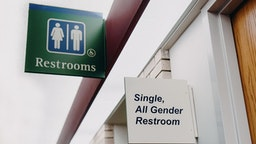 All Gender Restroom Sign - stock photo All gender restroom sign. Stefania Pelfini, La Waziya Photography via Getty Images