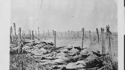 US soldier in the trenches on the Western Front during World War One, France, 1917.