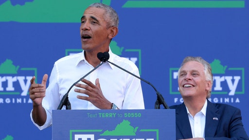 RICHMOND, VIRGINIA - OCTOBER 23: Former U.S. President Barack Obama (L) speaks as he campaigns with Democratic gubernatorial candidate, former Virginia Gov. Terry McAuliffe at Virginia Commonwealth University October 23, 2021 in Richmond, Virginia. The Virginia gubernatorial election, pitting McAuliffe against Republican candidate Glenn Youngkin, is November 2. (Photo by Win McNamee/Getty Images)