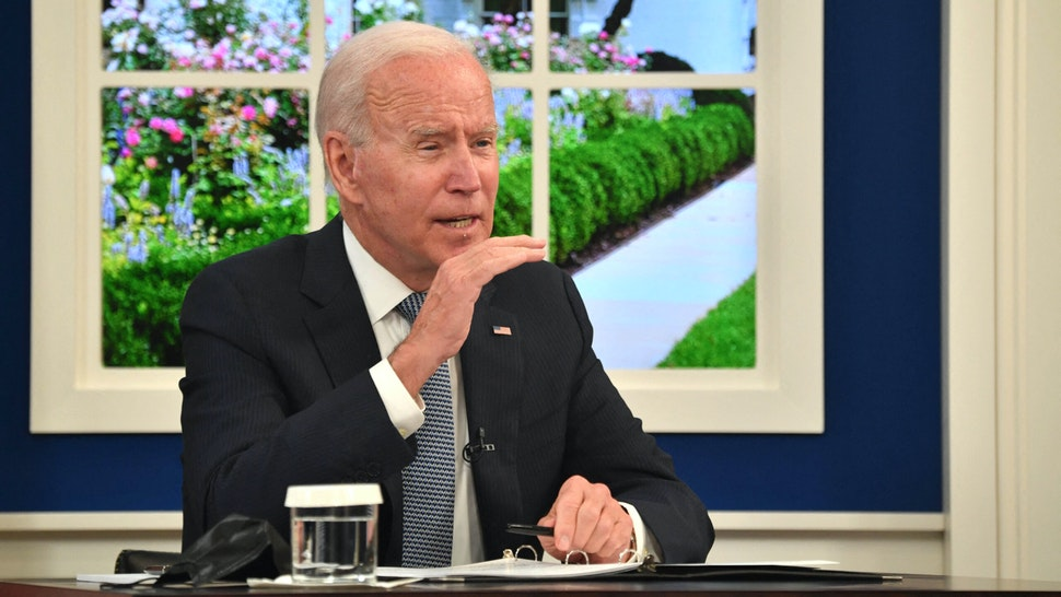 US President Joe Biden speaks during a meeting with business leaders and CEOs on the need to address the debt limit, on October 6, 2021, in the South Auditorium of the White House in Washington, DC.