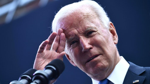 US President Joe Biden speaks at the dedication of the Dodd Center for Human Rights at the University of Connecticut on October 15, 2021 in Storrs, Connecticut.