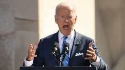 WASHINGTON, DC - OCTOBER 21: U.S. President Joe Biden delivers remarks during the 10th anniversary celebration of the Martin Luther King, Jr. Memorial near the Tidal Basin on the National Mall on October 21, 2021 in Washington, DC. Biden attended the memorial's dedication ceremony in 2011 with then President Barack Obama who delivered the keynote address.