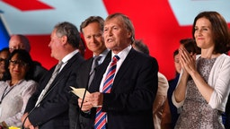 PARIS, FRANCE - JUNE 30: Sir David Amess speaks as the British delegation appear on stage during the Conference In Support Of Freedom and Democracy In Iran on June 30, 2018 in Paris, France. The speakers declared their support for the Iranian peoples uprising and the democratic alternative, the National Council of Resistance of Iran and called on the international community to adopt a firm policy against the mullahs regime and stand by the arisen people of Iran. (Photo by Anthony Devlin/Getty Images)