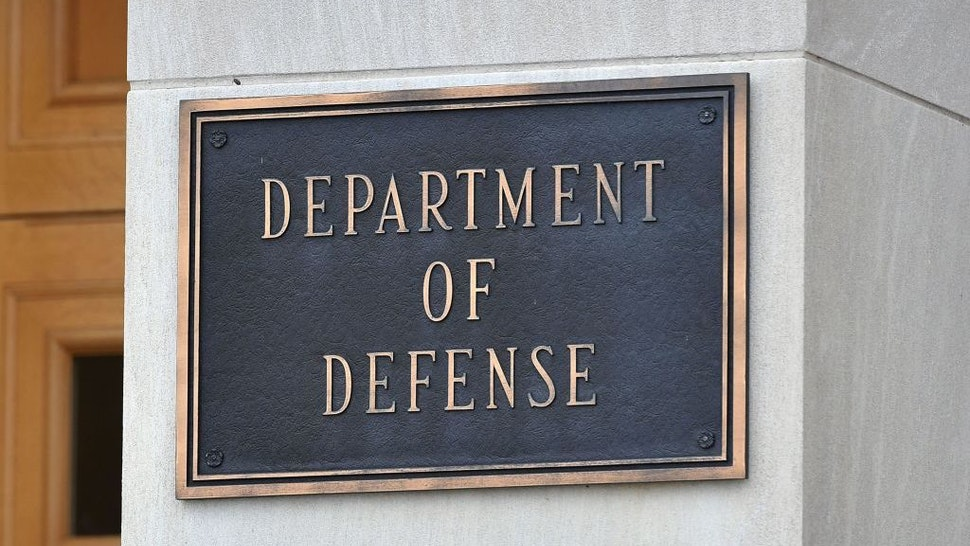 A Department of Defense plaque is seen outside the Pentagon in Washington, DC on October 6, 2021. (Photo by MANDEL NGAN / AFP) (Photo by MANDEL NGAN/AFP via Getty Images)