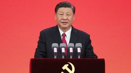 Chinese President Xi Jinping, also general secretary of the Communist Party of China CPC Central Committee and chairman of the Central Military Commission, delivers an important speech at the ceremony to present the July 1 Medal, the Party's highest honor, to outstanding Party members at the Great Hall of the People in Beijing, capital of China, June 29, 2021.