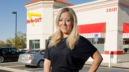 In-n-Out Burger CEO Lynsi Torres shown outside the new restaurant in Rancho Santa Margarita, Calif. on Wednesday, February 13, 2013.