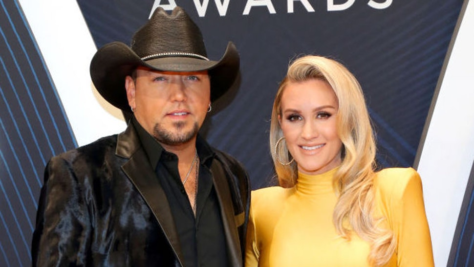 Singer-songwriter Jason Aldean and Brittany Kerr attend the 52nd annual CMA Awards at the Bridgestone Arena on November 14, 2018 in Nashville, Tennessee.