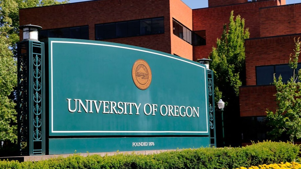 Main entry sign for the University of Oregon campus in Eugene.