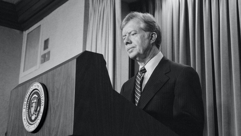 U.S. President Jimmy Carter announces new sanctions against Iran in retaliation for taking U.S. Hostages, Washington, D.C., USA, photograph by Marion S. Trikosko, April 7, 1980.