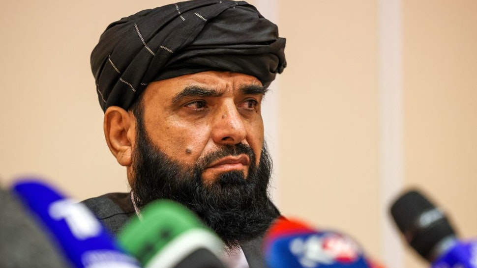 Taliban negotiator Suhail Shaheen attends a press conference in Moscow on July 9, 2021. - Russia on July 9, 2021 said the Taliban controls about two-thirds of the Afghan-Tajik border and urged all sides in Afghanistan to show restraint.