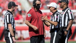 SALT LAKE CITY, UT - SEPTEMBER 25 : Nick Rolovich head coach of the Washington State Cougars talks with officials during their game against the Utah Utes September 25, 2021 at Rice Eccles Stadium in Salt Lake City, Utah. (Photo by Chris Gardner/Getty Images)