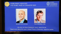 """A screen displays the co-winners of the 2021 Nobel Prize in Chemistry, Germany's Benjamin List (L) and David MacMillan of the United States, during a press conference at the Royal Swedish Academy of Sciences in Stockholm, Sweden, on October 6, 2021. - Germany's Benjamin List and David MacMillan of the United States on October 6, 2021 won the Nobel Prize in Chemistry for their development of a precise new tool for molecular construction, the jury said. The duo was awarded """"for their development of a precise new tool for molecular construction: organocatalysis. This has had a great impact on pharmaceutical research, and has made chemistry greener,"""" the Nobel Committee said."""