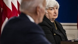 Janet Yellen, U.S. Treasury secretary, as U.S. President Joe Biden speaks during a meeting in the Eisenhower Executive Office Building in Washington, D.C., U.S., on Wednesday, Oct. 6, 2021. Biden is meeting with financial and corporate leaders to highlight the potential damage to the U.S. economy from a debt default as lawmakers continue brinkmanship over the debt limit.