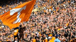KNOXVILLE, TN - OCTOBER 09: Tennessee Volunteers fans cheer during the game against the South Carolina Gamecocks on October 9, 2021, at Neyland Stadium in Knoxville, TN. (Photo by Bryan Lynn/Icon Sportswire via Getty Images)