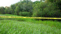 Police tape restricts access to Myakkahatchee Creek Environmental Park on October 20, 2021 in North Port, Florida.