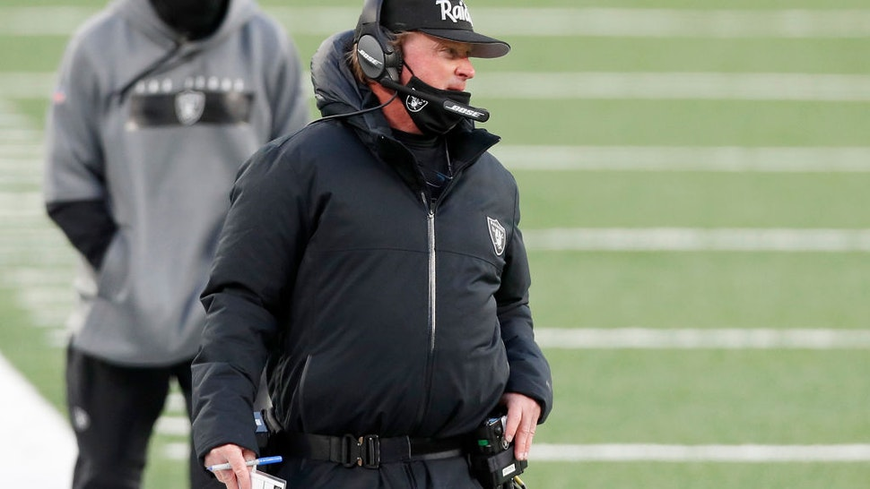 EAST RUTHERFORD, NEW JERSEY - DECEMBER 06: (NEW YORK DAILIES OUT) Head coach Jon Gruden of the Las Vegas Raiders in action against the New York Jets at MetLife Stadium on December 06, 2020 in East Rutherford, New Jersey. The Raiders defeated the Jets 31-28. (Photo by Jim McIsaac/Getty Images)