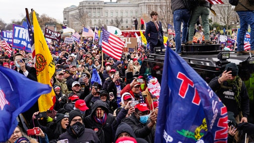 """Crowds gather outside the U.S. Capitol for the """"Stop the Steal"""" rally on January 06, 2021 in Washington, DC."""