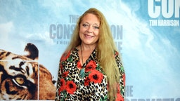 """SANTA MONICA, CALIFORNIA - AUGUST 28: Carole Baskin attends the Los Angeles theatrical premiere of """"The Conservation Game"""" on August 28, 2021 in Santa Monica, California. (Photo by Araya Doheny/Getty Images for NightFly Entertainment, Ltd.)"""