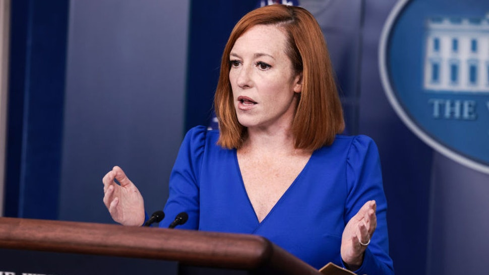 White House Press Secretary Jen Psaki gestures as she speaks at a press briefing in the James Brady Press Briefing Room of the White House on October 01, 2021 in Washington, DC.