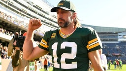 CHICAGO, ILLINOIS - OCTOBER 17: Aaron Rodgers #12 of the Green Bay Packers celebrates after the Packers defeated the Chicago Bears 24-14 at Soldier Field on October 17, 2021 in Chicago, Illinois. (Photo by Quinn Harris/Getty Images)
