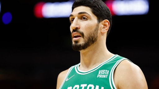 MIAMI, FLORIDA - OCTOBER 15: Enes Kanter #11 of the Boston Celtics looks on against the Miami Heat during a preseason game at FTX Arena on October 15, 2021 in Miami, Florida. NOTE TO USER: User expressly acknowledges and agrees that, by downloading and or using this photograph, User is consenting to the terms and conditions of the Getty Images License Agreement. (Photo by Michael Reaves/Getty Images)