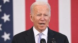 President Joe Biden speaks at an event at the Electric City Trolley Museum in Scranton on October 20, 2021 in Scranton, Pennsylvania.