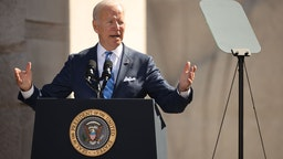 U.S. President Joe Biden delivers remarks during the 10th-anniversary celebration of the Martin Luther King, Jr. Memorial near the Tidal Basin on the National Mall on October 21, 2021 in Washington, DC.