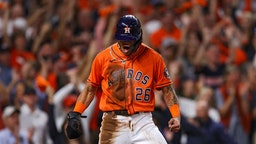 HOUSTON, TEXAS - OCTOBER 27: Jose Siri #26 of the Houston Astros celebrates after scoring a run against the Atlanta Braves during the second inning in Game Two of the World Series at Minute Maid Park on October 27, 2021 in Houston, Texas. (Photo by Patrick Smith/Getty Images)