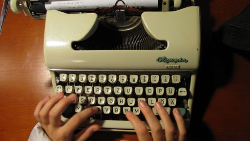 Typing in an old typewriter, National Museum of Science and Technology in Madrid, Spain, February 2011. (Photo by Cristina Arias/Cover/Getty Images)