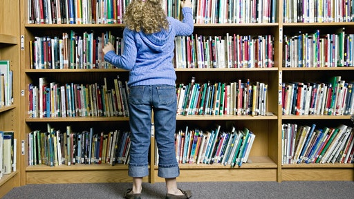 Girl Looking at Library Books