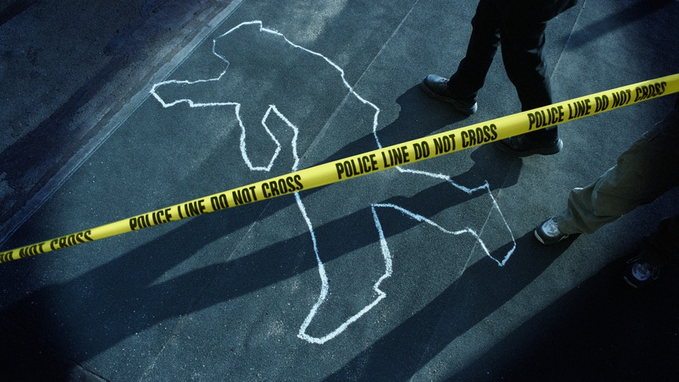 Chalk Outline at Police Crime Scene - stock photo