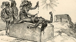 Vintage illustration of an Aztec priest removing the heart of a victim as a sacrifice to the gods; engraving, 1889.