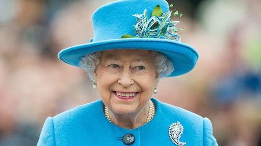POUNDBURY, DORSET - OCTOBER 27: Queen Elizabeth II tours Queen Mother Square on October 27, 2016 in Poundbury, Dorset.