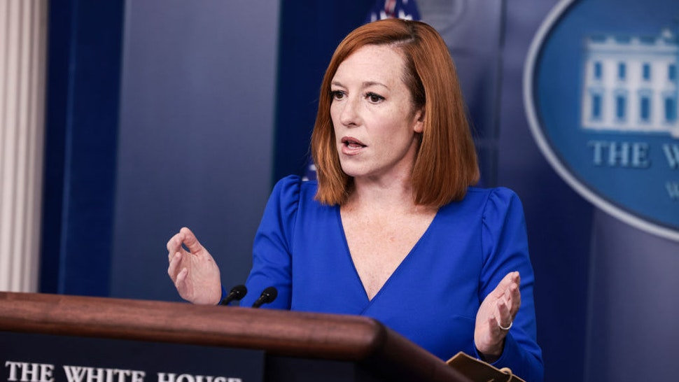 WASHINGTON, DC - OCTOBER 01: White House Press Secretary Jen Psaki gestures as she speaks at a press briefing in the James Brady Press Briefing Room of the White House on October 01, 2021 in Washington, DC. Later today U.S. President Joe Biden will go to Capitol Hill to attend a meeting with the House Democratic Caucus. (Photo by Anna Moneymaker/Getty Images)