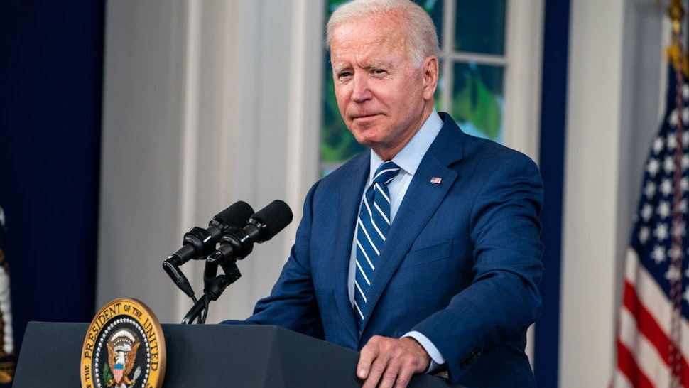 WASHINGTON, DC - SEPTEMBER 27: President Joe Biden speaks before receiving a booster vaccination shot for CoVID19 in the South Court Auditorium of the Eisenhower Executive Office Building on the White House Complex on Monday, Sept. 27, 2021 in Washington, DC. (Kent Nishimura / Los Angeles Times via Getty Images)