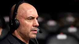 BOSTON, MA - JANUARY 20: Joe Rogan is seen in the commentary booth during the UFC 220 event at TD Garden on January 20, 2018 in Boston, Massachusetts.