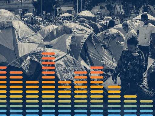 """Migration at the border between Mexico and the USA 17 March 2021, Mexico, Tijuana: A child walks through tents at a migrant camp on the grounds of the National Institute for Migration near the """"El Chaparral"""" border crossing. Just over 14,000 unaccompanied migrant minors and refugees are in the custody of U.S. authorities after entering the country through the southern U.S. border. The number of migrants entering the US illegally from Mexico has increased significantly recently. Photo: Stringer/dpa (Photo by Stringer/picture alliance via Getty Images) picture alliance / Contributor via Getty Images"""