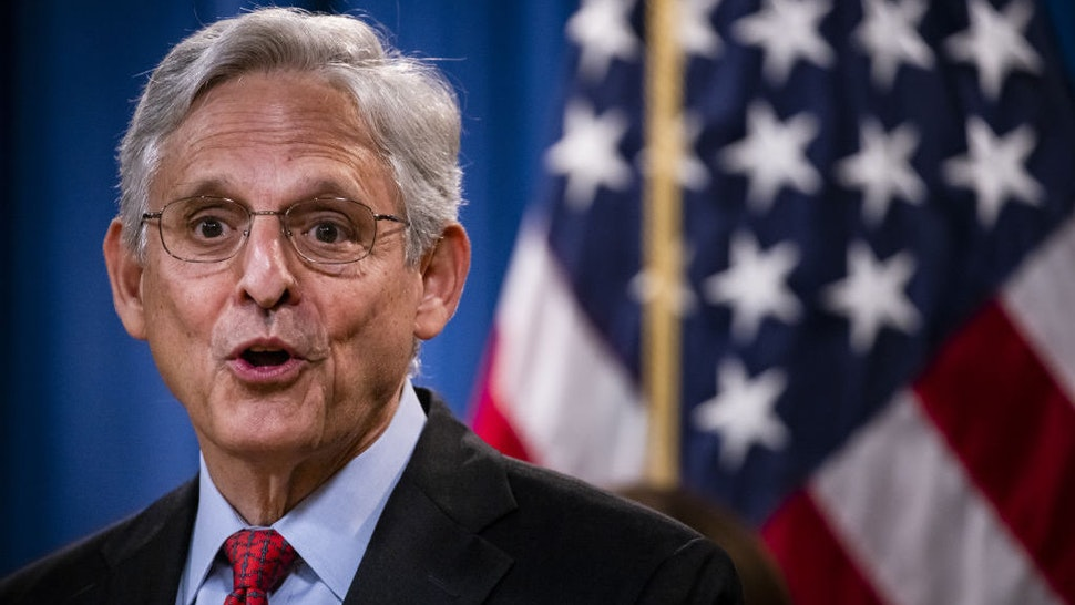Merrick Garland, U.S. attorney general, speaks during a news conference at the Department of Justice in Washington, D.C., U.S., on Thursday, Sept. 9, 2021. The U.S. sued Texas to block a law that effectively bans abortions in the state after six weeks, calling it unconstitutional. Photographer: Samuel Corum/Bloomberg
