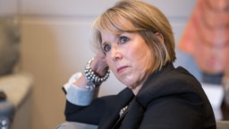 Michelle Lujan Grisham, governor of New Mexico, listens during an interview at her office in Santa Fe, New Mexico, U.S., on Thursday, Aug. 8, 2019. Lujan Grisham is balancing her concern over the catastrophic effects of climate change with the state's extraordinary dependence on oil and gas. Photographer: Steven St John/Bloomberg