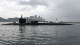 BUSAN, SOUTH KOREA - APRIL 25: In this handout photo provided by the U.S. Navy, the guided-missile submarine USS Michigan arrives on April 25, 2017 in Busan, South Korea. The USS Michigan is in South Korea for a scheduled port visit while conducting routine patrols throughout the western Pacific.