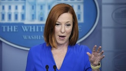 WASHINGTON, DC - OCTOBER 14: White House Press Secretary Jen Psaki speaks during the daily press briefing at the White House October 14, 2021 in Washington, DC. Psaki announced that President Joe Biden will deliver the keynote address at the 40th Annual National Peace Officers' Memorial Service on Saturday at the U.S. Capitol.