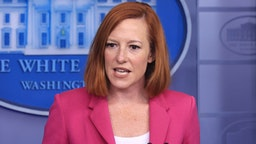 WASHINGTON, DC - OCTOBER 22: White House Press Secretary Jen Psaki talks to reporters in the Brady Press Briefing Room at the White House on October 22, 2021 in Washington, DC. Psaki fielded questions about U.S. policy toward Taiwan, the ongoing negotiations with Congress over the Build Back Better legislation, the Republican opposition to election reform, President Biden's upcoming trip to Europe and other topics.