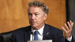 WASHINGTON, DC - SEPTEMBER 21: Sen. Rand Paul (R-KY) asks questions about FISA and Crossfire Hurricane during a Senate Homeland Security & Governmental Affairs hearing to discuss security threats 20 years after the 9/11 terrorist attacks at the U.S. Capitol on September 21, 2021 in Washington, DC.